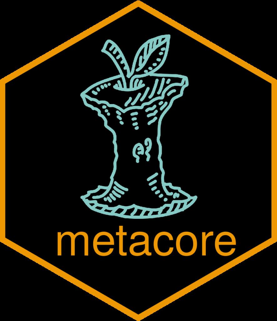 metacore hex sticker of an apple core
