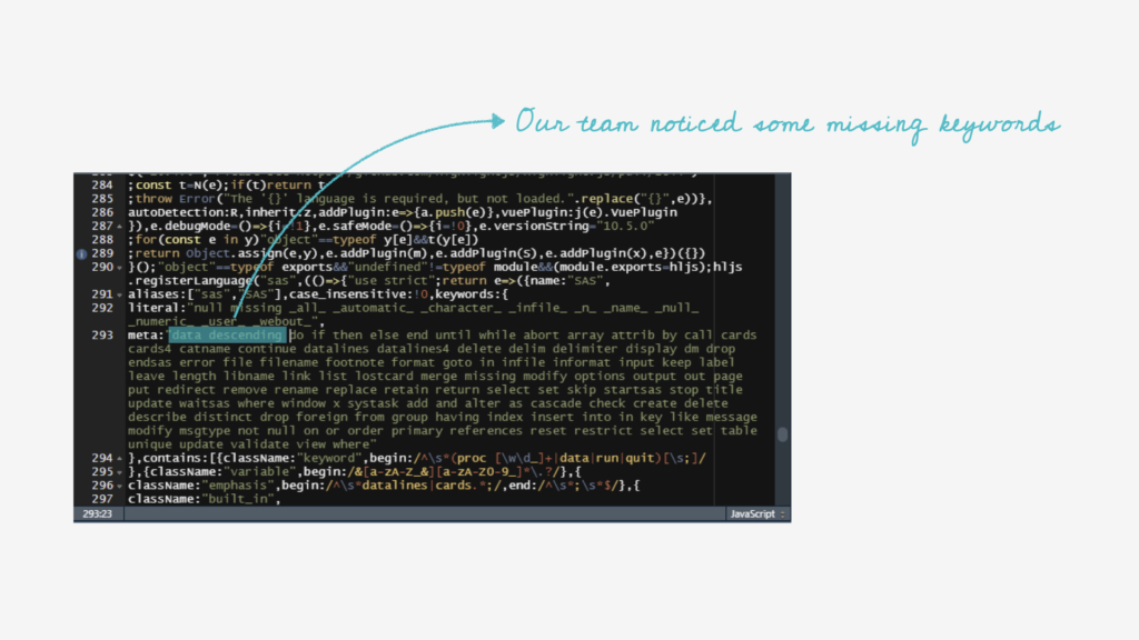adding custom words to highlight.js