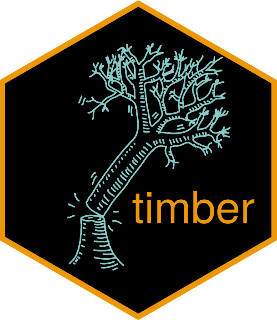 timber r package hex sticker of tree falling over