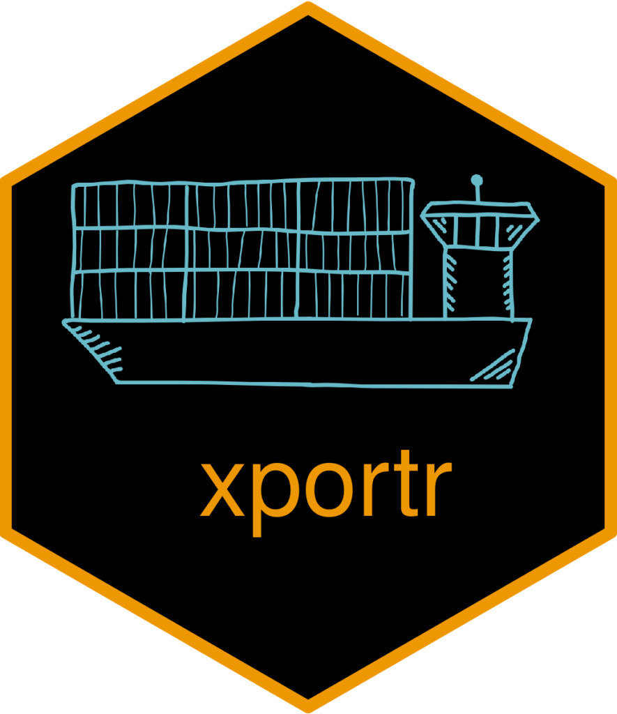 xporter hex sticker of an export shipping container